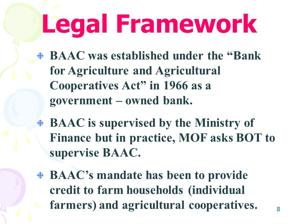 8 BAAC was established under the Bank for Agriculture and Agricultural Cooperatives Act in 1966 as a government – owned bank.