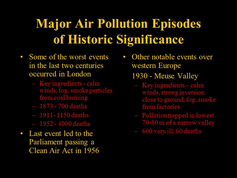 Major Air Pollution Episodes of Historic Significance Some of the worst events in the last two centuries occurred in London –Key ingredients - calm winds, fog, smoke particles from coal burning –1873 - 700 deaths –1911- 1150 deaths –1952 - 4000 deaths Last event led to the Parliament passing a Clean Air Act in 1956 Other notable events over western Europe 1930 - Meuse Valley –Key ingredients – calm winds, strong inversion close to ground, fog, smoke from factories –Pollution trapped in lowest 70-80 m of a narrow valley –600 very ill, 60 deaths