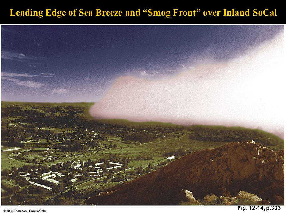 Fig. 12-14, p.333 Leading Edge of Sea Breeze and Smog Front over Inland SoCal
