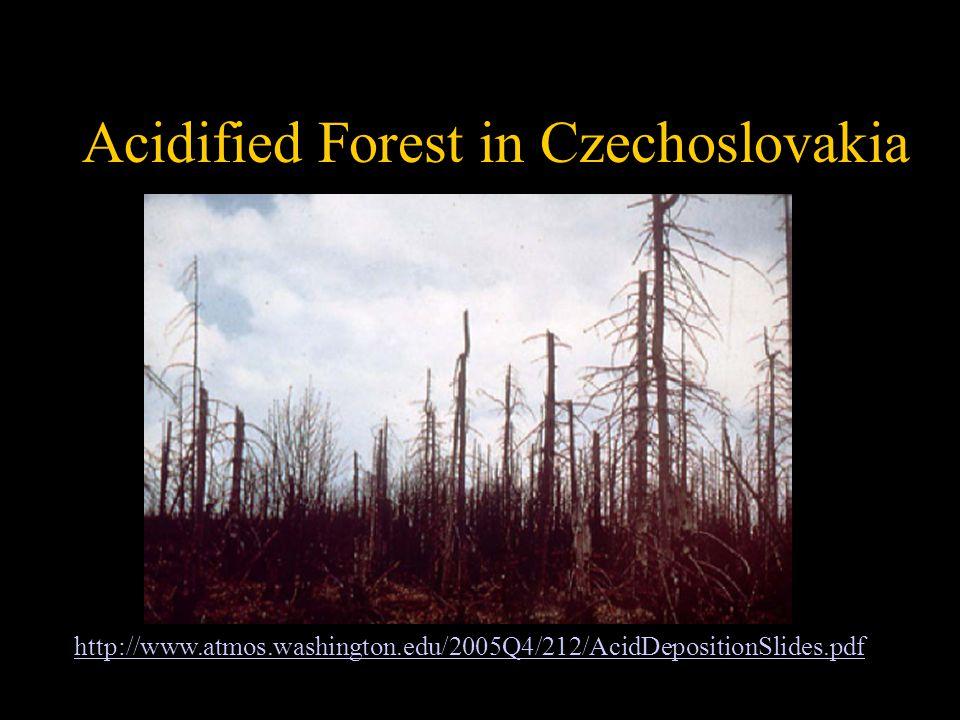 Fig. 12-19, p.339 Acidified Forest in Czechoslovakia http://www.atmos.washington.edu/2005Q4/212/AcidDepositionSlides.pdf
