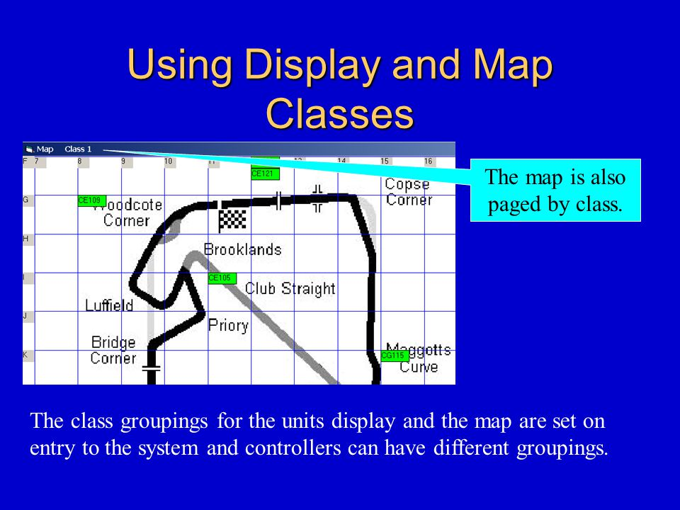 Using Display and Map Classes The map is also paged by class.