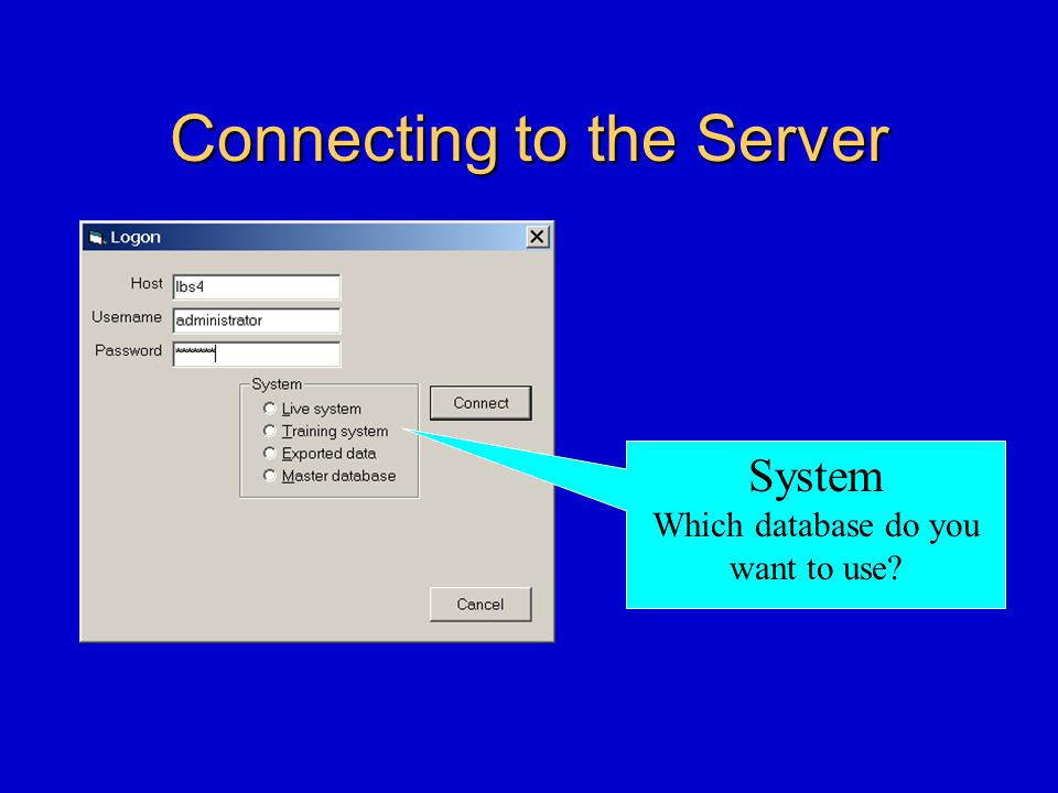 Connecting to the Server System Which database do you want to use