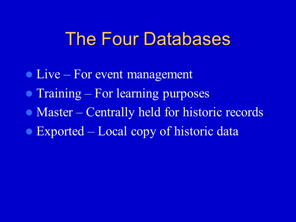 The Four Databases Live – For event management Training – For learning purposes Master – Centrally held for historic records Exported – Local copy of historic data