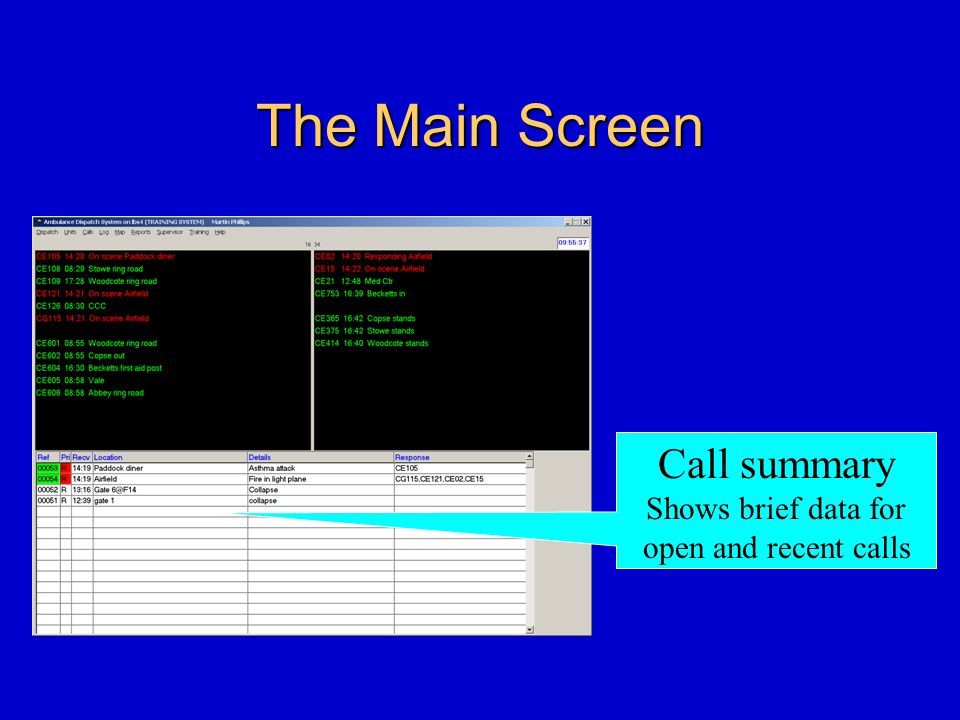 The Main Screen Call summary Shows brief data for open and recent calls