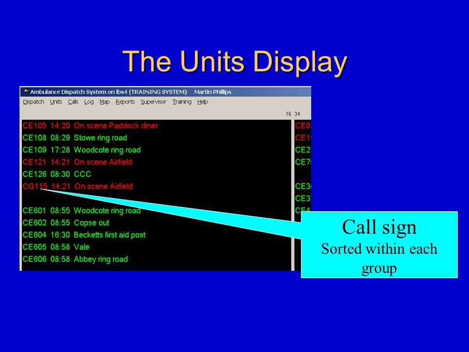 The Units Display Call sign Sorted within each group