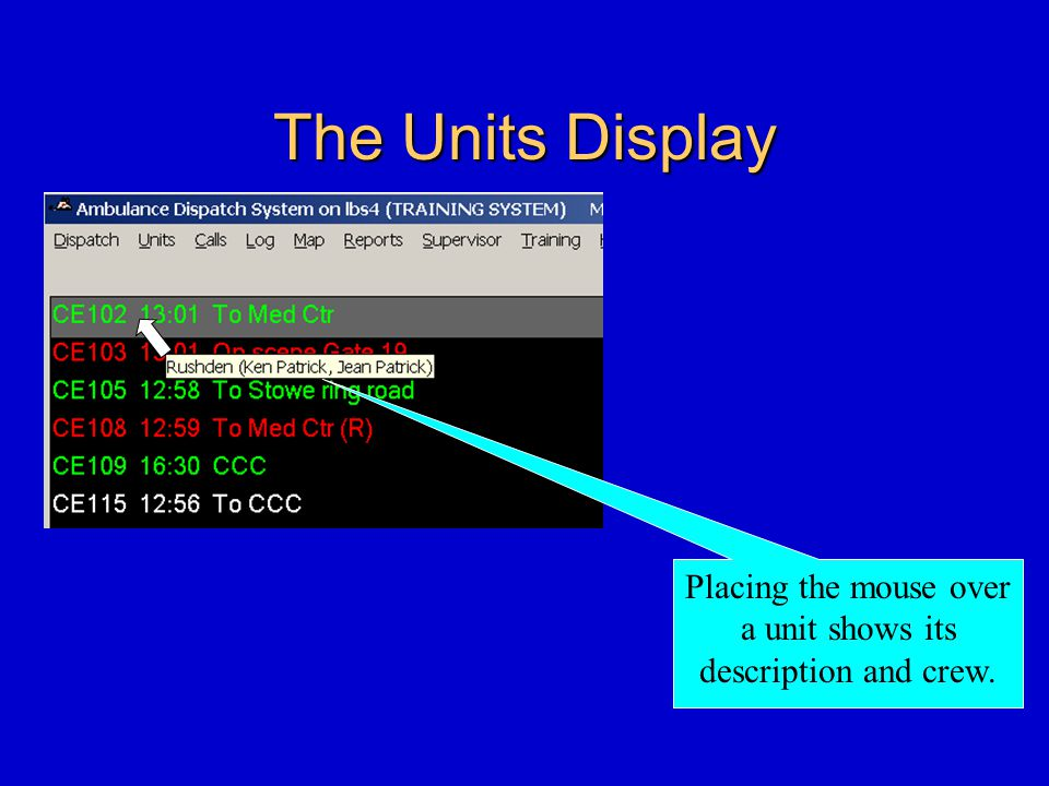 The Units Display Placing the mouse over a unit shows its description and crew.