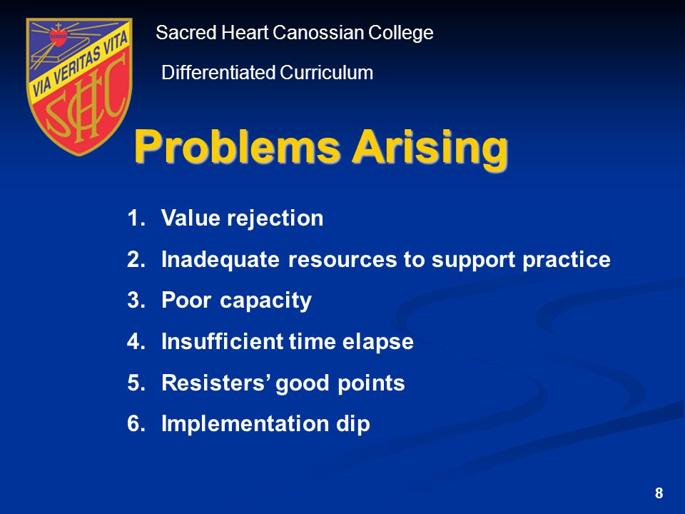 Sacred Heart Canossian College Differentiated Curriculum Problems Arising 1.Value rejection 2.Inadequate resources to support practice 3.Poor capacity 4.Insufficient time elapse 5.Resisters' good points 6.Implementation dip 8
