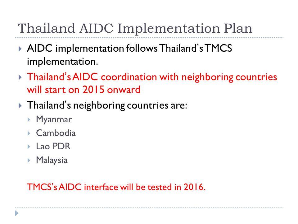Thailand AIDC Implementation Plan  AIDC implementation follows Thailand's TMCS implementation.