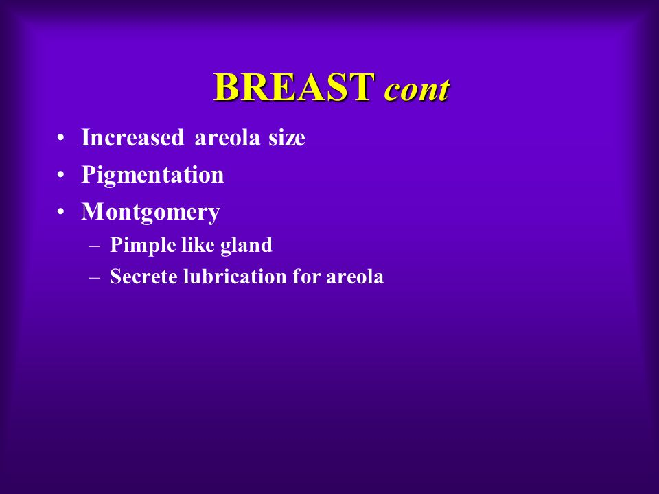 BREAST cont Increased areola size Pigmentation Montgomery –Pimple like gland –Secrete lubrication for areola