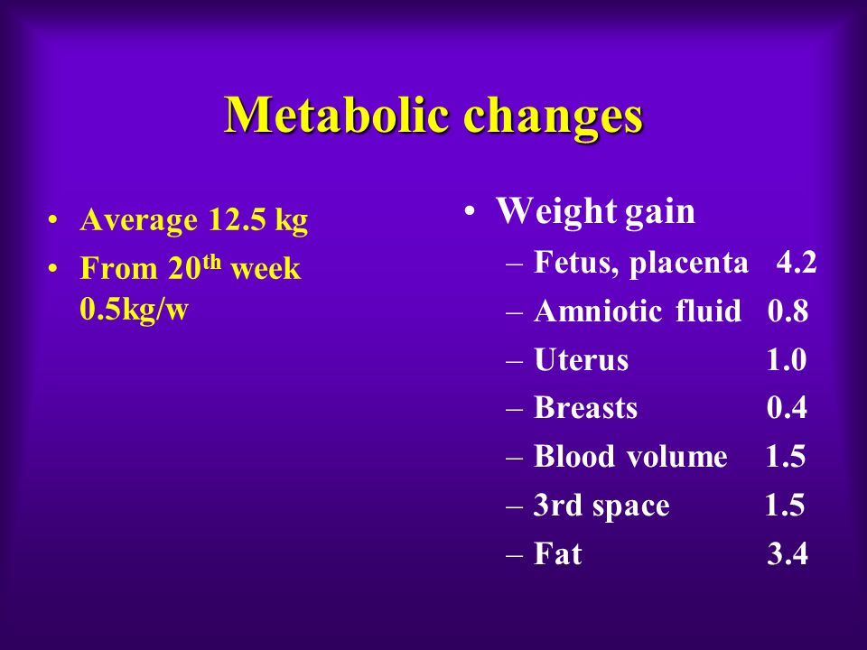 Metabolic changes Weight gain –Fetus, placenta 4.2 –Amniotic fluid 0.8 –Uterus 1.0 –Breasts 0.4 –Blood volume 1.5 –3rd space 1.5 –Fat 3.4 Average 12.5 kg From 20 th week 0.5kg/w