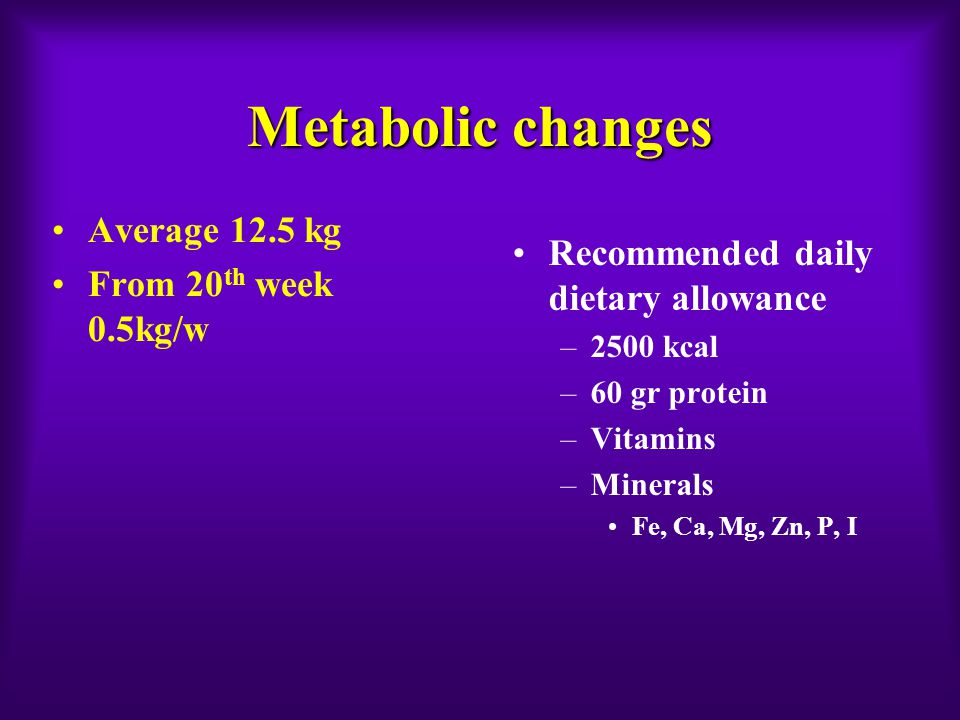 Metabolic changes Recommended daily dietary allowance –2500 kcal –60 gr protein –Vitamins –Minerals Fe, Ca, Mg, Zn, P, I Average 12.5 kg From 20 th we
