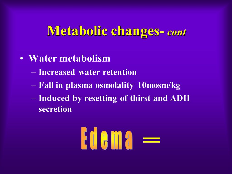 Metabolic changes- cont Water metabolism –Increased water retention –Fall in plasma osmolality 10mosm/kg –Induced by resetting of thirst and ADH secre