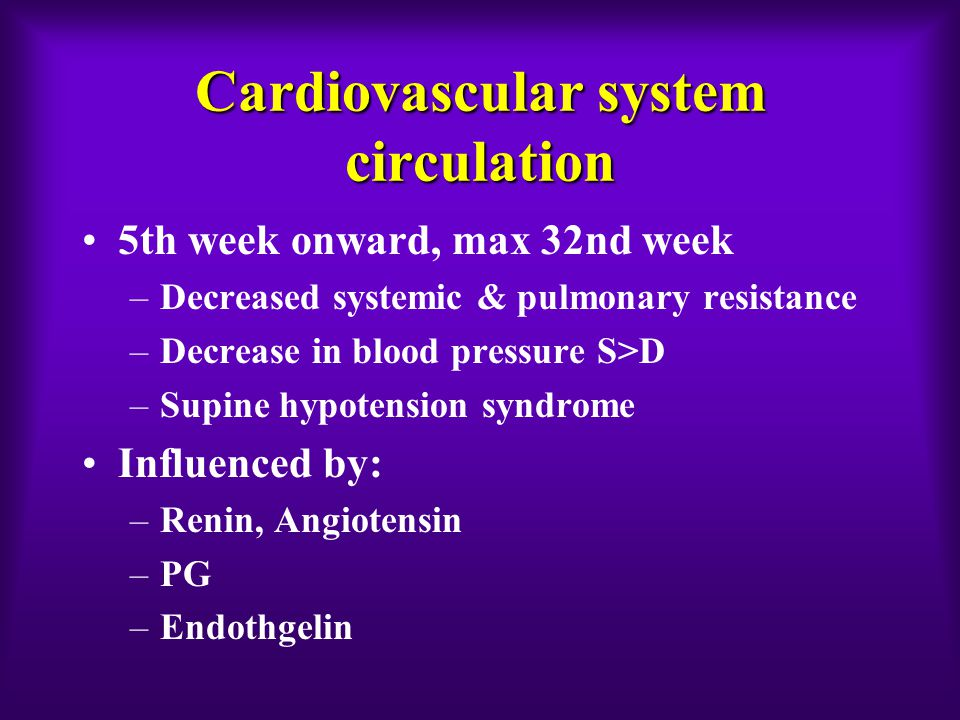 Cardiovascular system circulation 5th week onward, max 32nd week –Decreased systemic & pulmonary resistance –Decrease in blood pressure S>D –Supine hypotension syndrome Influenced by: –Renin, Angiotensin –PG –Endothgelin
