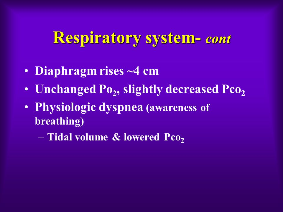 Respiratory system- cont Diaphragm rises ~4 cm Unchanged Po 2, slightly decreased Pco 2 Physiologic dyspnea (awareness of breathing) –Tidal volume & lowered Pco 2