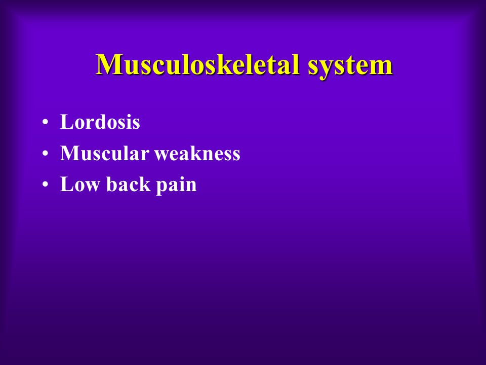 Musculoskeletal system Lordosis Muscular weakness Low back pain