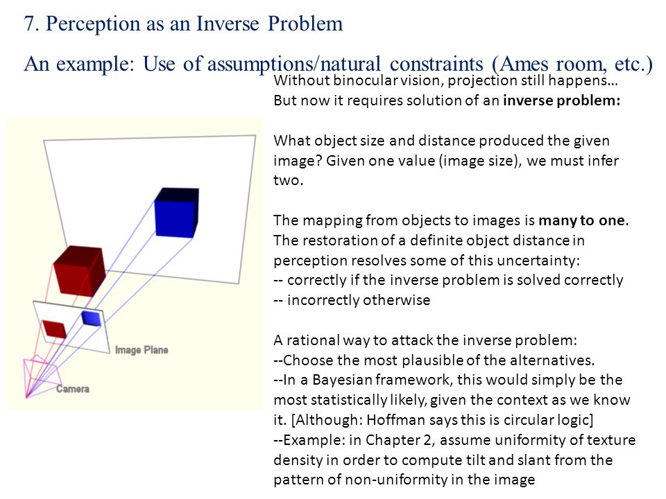 Without binocular vision, projection still happens… But now it requires solution of an inverse problem: What object size and distance produced the giv