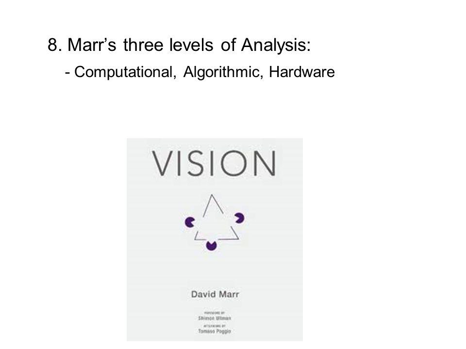 8. Marr's three levels of Analysis: - Computational, Algorithmic, Hardware