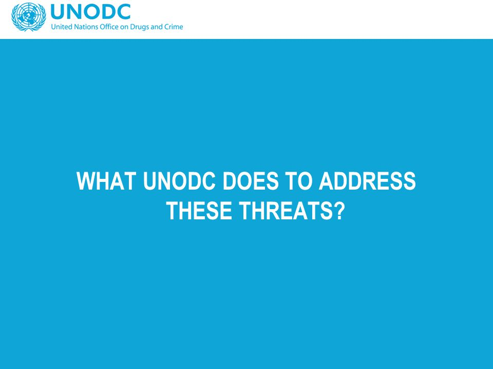 WHAT UNODC DOES TO ADDRESS THESE THREATS?