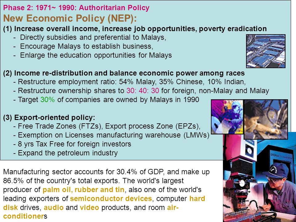 Phase 2: 1971~ 1990: Authoritarian Policy New Economic Policy (NEP): (1)Increase overall income, increase job opportunities, poverty eradication - Dir