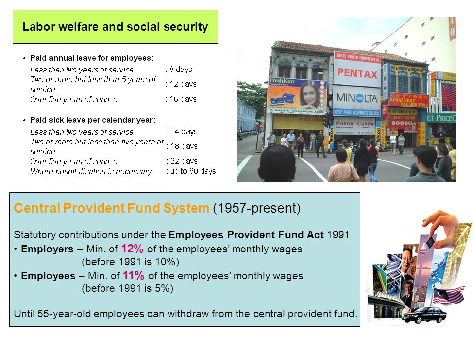 Central Provident Fund System (1957-present) Statutory contributions under the Employees Provident Fund Act 1991 Employers – Min. of 12% of the employ