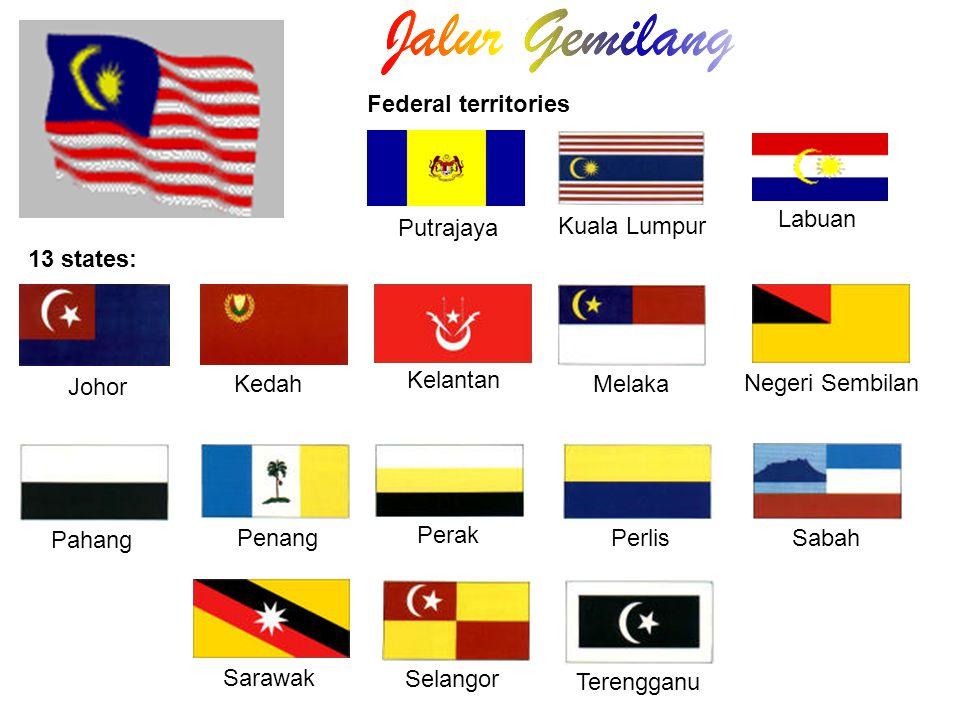 Kuala Lumpur Johor Negeri Sembilan Pahang Penang Perak PerlisSabah Sarawak Selangor Kedah Kelantan Melaka Terengganu Putrajaya 13 states: Labuan Feder