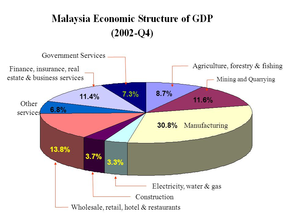 Mining and Quarrying 8.7% 11.6% 30.8% Manufacturing Agriculture, forestry & fishing 7.3% Government Services 3.3% Electricity, water & gas 3.7% Constr