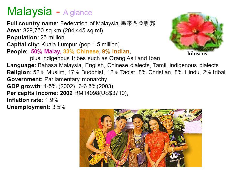 Full country name: Federation of Malaysia 馬來西亞聯邦 Area: 329,750 sq km (204,445 sq mi) Population: 25 million Capital city: Kuala Lumpur (pop 1.5 millio