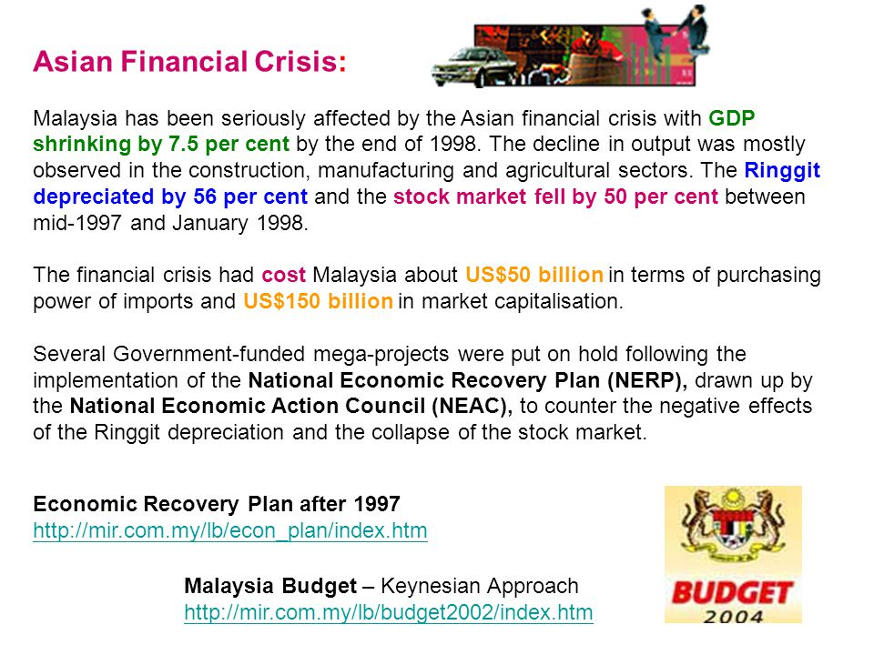 Asian Financial Crisis: Malaysia has been seriously affected by the Asian financial crisis with GDP shrinking by 7.5 per cent by the end of 1998. The