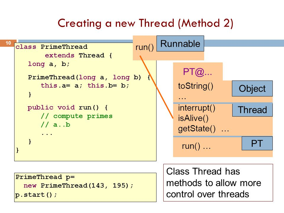 Creating a new Thread (Method 2) 10 class PrimeThread extends Thread { long a, b; PrimeThread(long a, long b) { this.a= a; this.b= b; } public void run() { // compute primes // a..b...