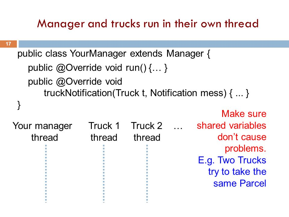 Manager and trucks run in their own thread 17 public class YourManager extends Manager { public @Override void run() {… } public @Override void truckNotification(Truck t, Notification mess) {...
