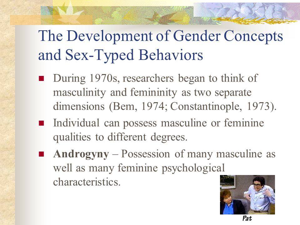 The Development of Gender Concepts and Sex-Typed Behaviors During 1970s, researchers began to think of masculinity and femininity as two separate dime