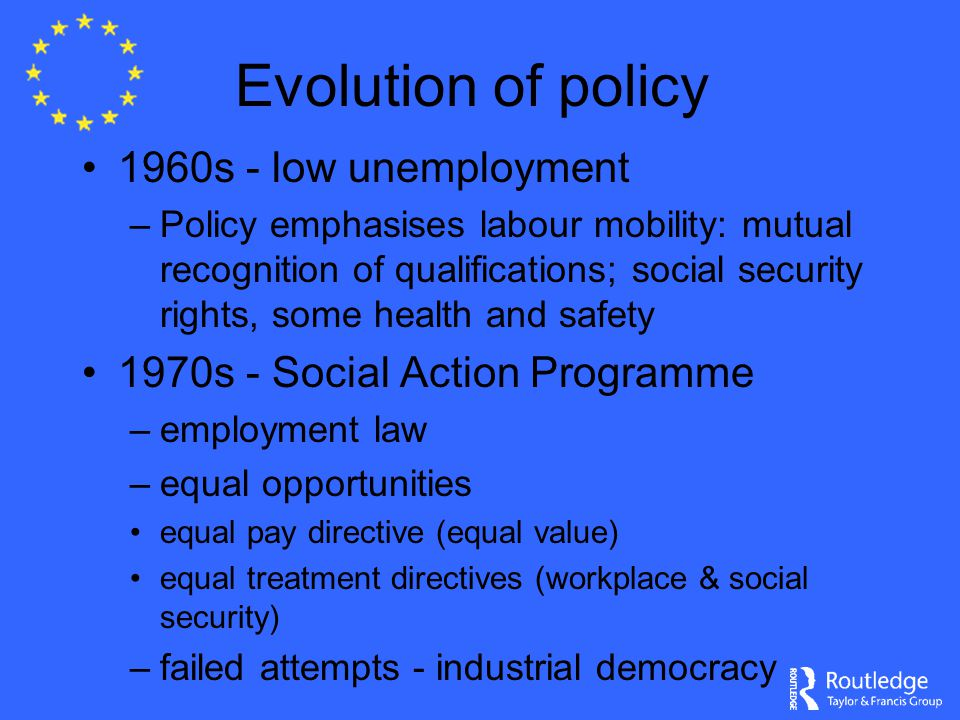 Evolution of policy 1960s - low unemployment –Policy emphasises labour mobility: mutual recognition of qualifications; social security rights, some health and safety 1970s - Social Action Programme –employment law –equal opportunities equal pay directive (equal value) equal treatment directives (workplace & social security) –failed attempts - industrial democracy