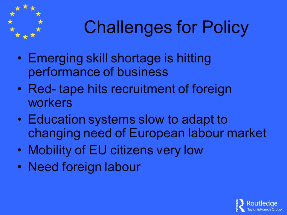 Challenges for Policy Emerging skill shortage is hitting performance of business Red- tape hits recruitment of foreign workers Education systems slow to adapt to changing need of European labour market Mobility of EU citizens very low Need foreign labour