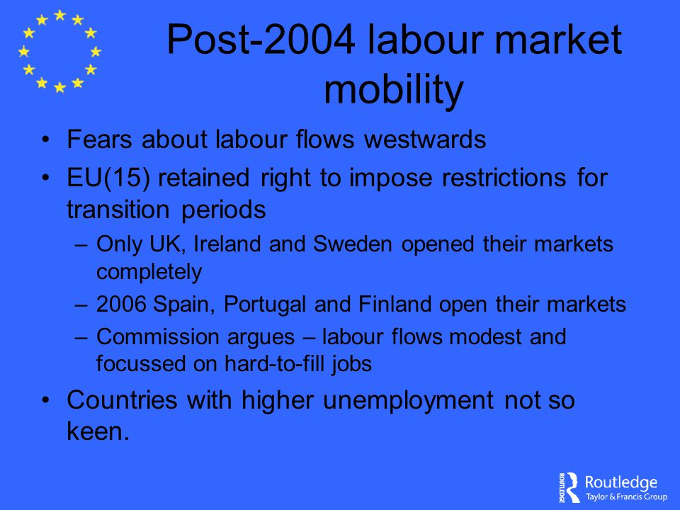 Post-2004 labour market mobility Fears about labour flows westwards EU(15) retained right to impose restrictions for transition periods –Only UK, Ireland and Sweden opened their markets completely –2006 Spain, Portugal and Finland open their markets –Commission argues – labour flows modest and focussed on hard-to-fill jobs Countries with higher unemployment not so keen.
