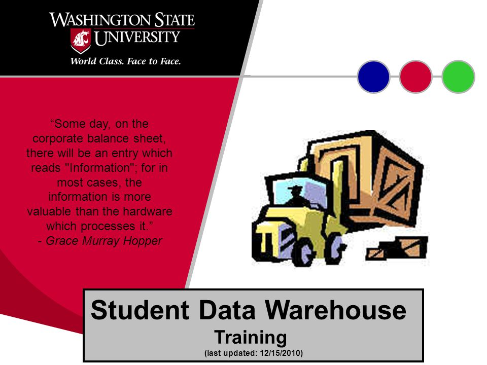 Student Data Warehouse Training (last updated: 12/15/2010) Some day, on the corporate balance sheet, there will be an entry which reads Information ; for in most cases, the information is more valuable than the hardware which processes it. - Grace Murray Hopper