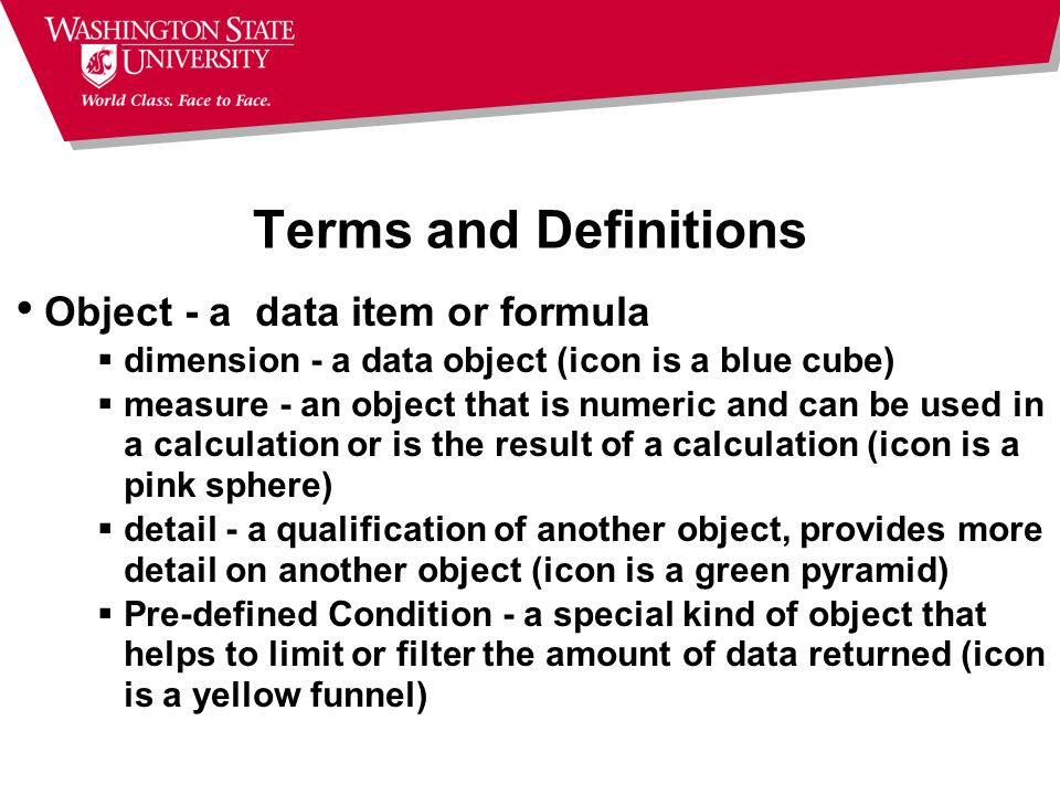 Terms and Definitions Object - a data item or formula  dimension - a data object (icon is a blue cube)  measure - an object that is numeric and can be used in a calculation or is the result of a calculation (icon is a pink sphere)  detail - a qualification of another object, provides more detail on another object (icon is a green pyramid)  Pre-defined Condition - a special kind of object that helps to limit or filter the amount of data returned (icon is a yellow funnel)