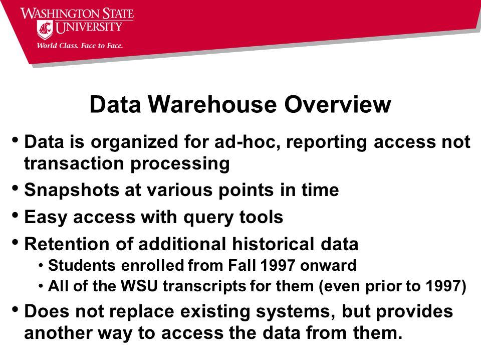 Flow of Data Online Phonebook (email addresses) OARS UNAF (addresses) SRTS STUDENT DATA WAREHOUSE END USER (YOU) WSU ORG