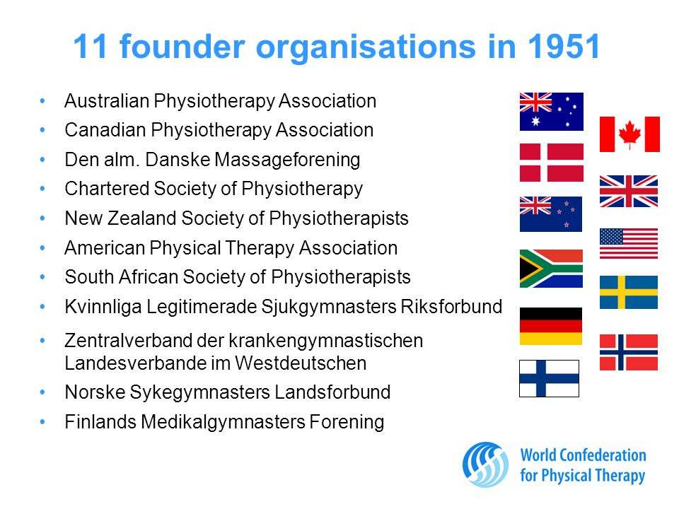 11 founder organisations in 1951 Australian Physiotherapy Association Canadian Physiotherapy Association Den alm.