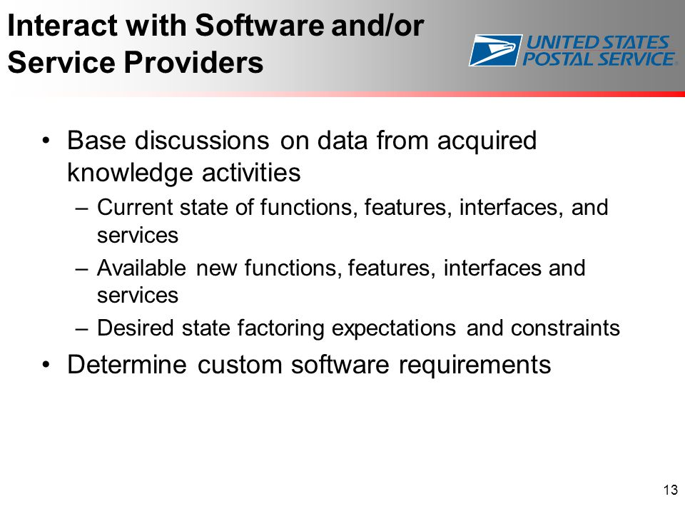 Interact with Software and/or Service Providers Base discussions on data from acquired knowledge activities –Current state of functions, features, interfaces, and services –Available new functions, features, interfaces and services –Desired state factoring expectations and constraints Determine custom software requirements 13