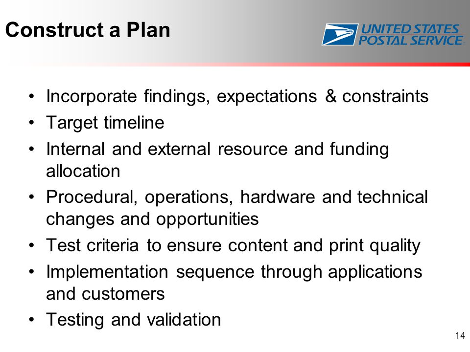 Construct a Plan Incorporate findings, expectations & constraints Target timeline Internal and external resource and funding allocation Procedural, op
