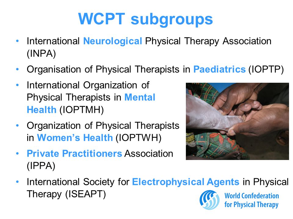 WCPT subgroups International Neurological Physical Therapy Association (INPA) Organisation of Physical Therapists in Paediatrics (IOPTP) International Organization of Physical Therapists in Mental Health (IOPTMH) Organization of Physical Therapists in Women's Health (IOPTWH) Private Practitioners Association (IPPA) International Society for Electrophysical Agents in Physical Therapy (ISEAPT)
