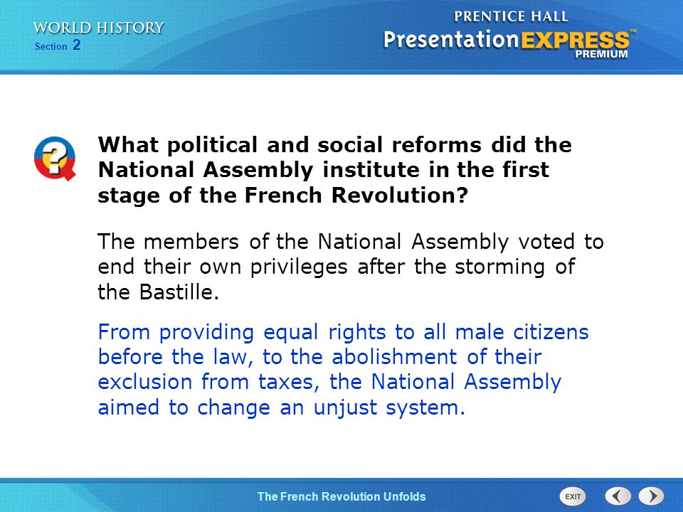Chapter 25 Section 1 The Cold War BeginsThe French Revolution Unfolds Section 2 What political and social reforms did the National Assembly institute in the first stage of the French Revolution.