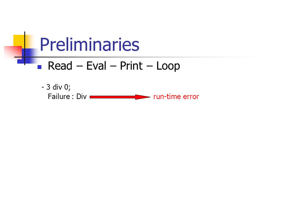Preliminaries Read – Eval – Print – Loop - 3 div 0; Failure : Divrun-time error