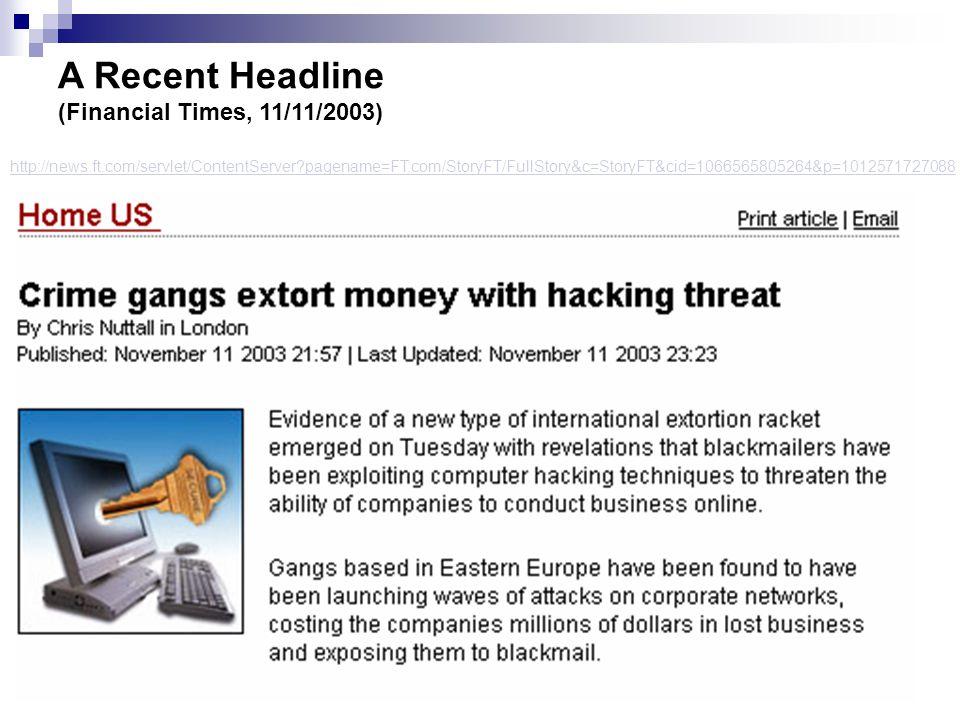 A Recent Headline (Financial Times, 11/11/2003) http://news.ft.com/servlet/ContentServer pagename=FT.com/StoryFT/FullStory&c=StoryFT&cid=1066565805264&p=1012571727088