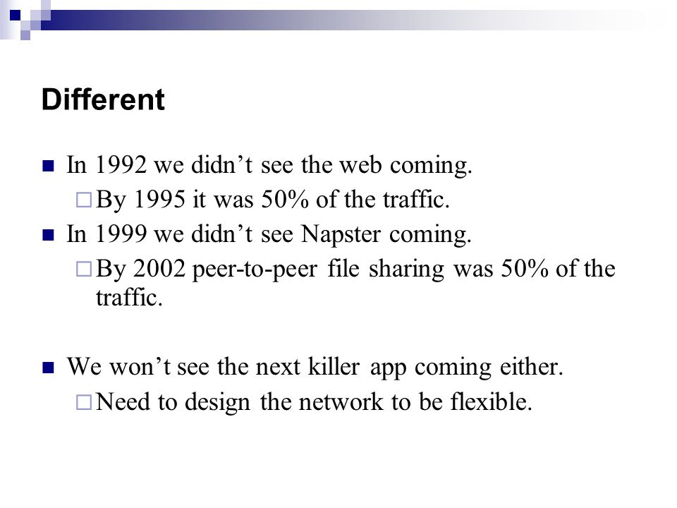 Different In 1992 we didn't see the web coming.  By 1995 it was 50% of the traffic.