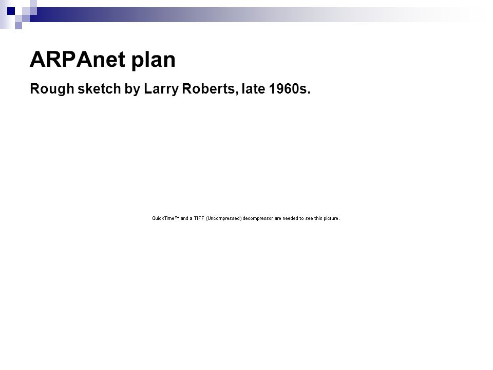 ARPAnet plan Rough sketch by Larry Roberts, late 1960s.