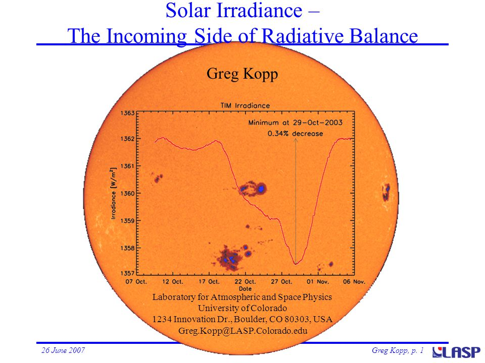 Greg Kopp, p. 126 June 2007Solar Irradiance Solar Irradiance – The Incoming Side of Radiative Balance Laboratory for Atmospheric and Space Physics Uni