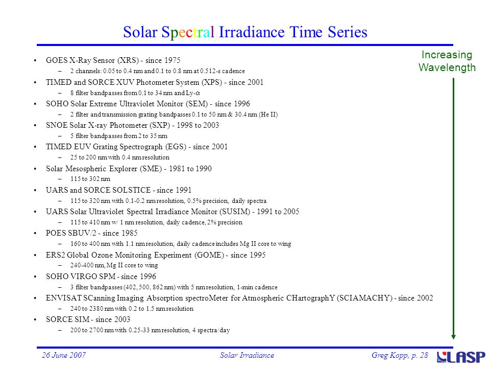 Greg Kopp, p. 2826 June 2007Solar Irradiance Increasing Wavelength Solar Spectral Irradiance Time Series GOES X-Ray Sensor (XRS) - since 1975 –2 chann