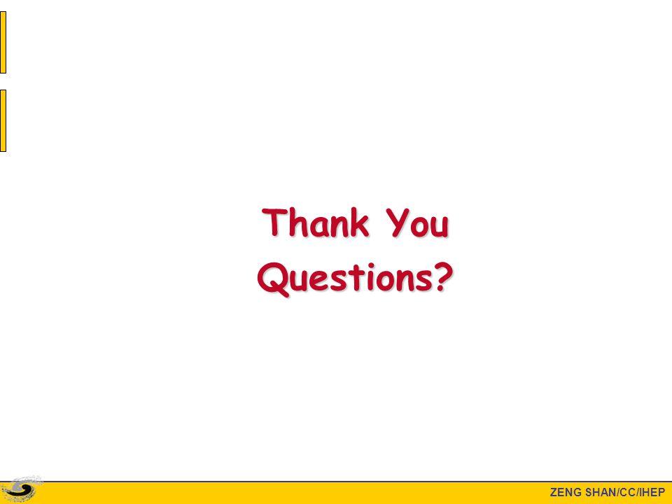 ZENG SHAN/CC/IHEP Thank You Questions?