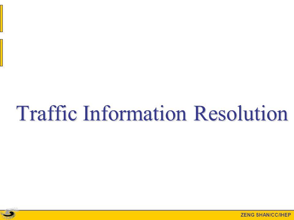 Traffic Information Resolution ZENG SHAN/CC/IHEP